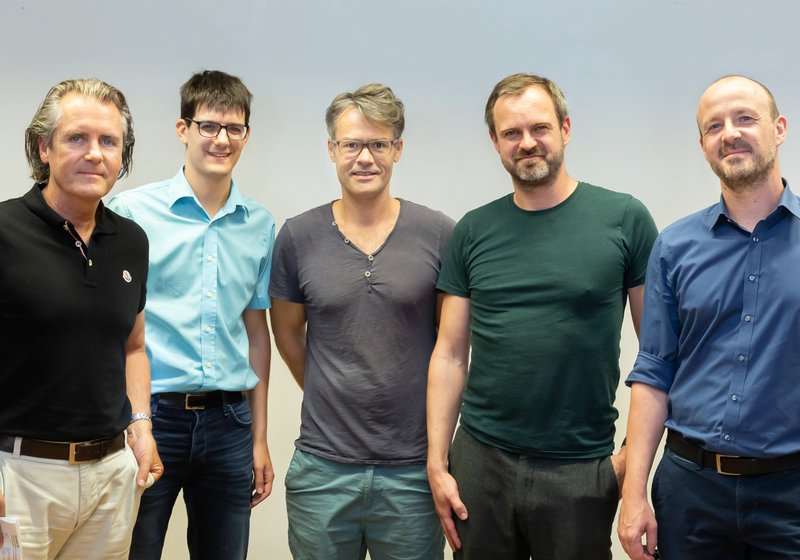 From left: Robert Kelca (ATP Partner and Managing Director in Innsbruck), Philipp Zimmermann (ATP BIM Manager) together with Thomas Mathoy and Peter Massin (teachers at the Institute for Experimental Architecture) and Klaus Hessenberger (ATP Group Leader