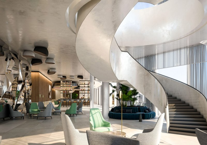 Eye catcher: The sweeping sculptural open stair leads to the conference areas. Visualization: ATP/ZoomVP