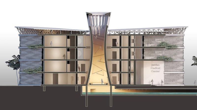 Башня ветрогенератора (в центре) направляет теплый воздух вверх и холодный вниз. Визуализация: HTL-Imst