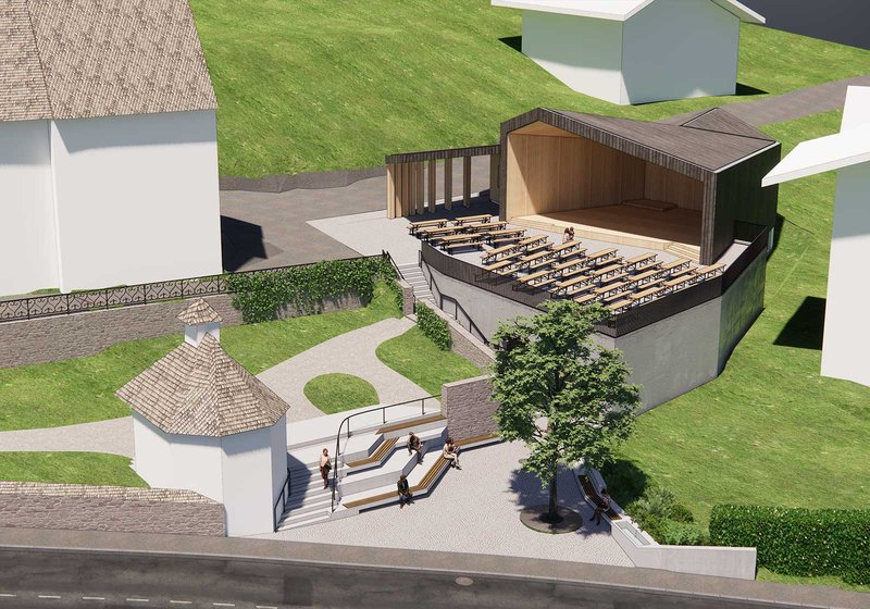 The building opens up towards the entrance to the church in the form of a trapezium. Visualization: ATP