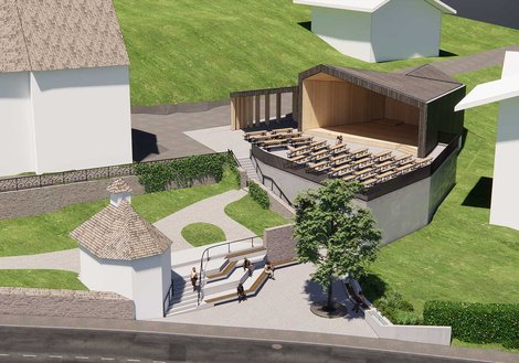 Das Gebäude öffnet sich nach vorne trapezförmig zum Kircheneingang. Visualisierung: ATP
