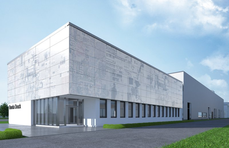 The façade of the office building is inspired by the products of Burda's printing center. Visualization: ATP