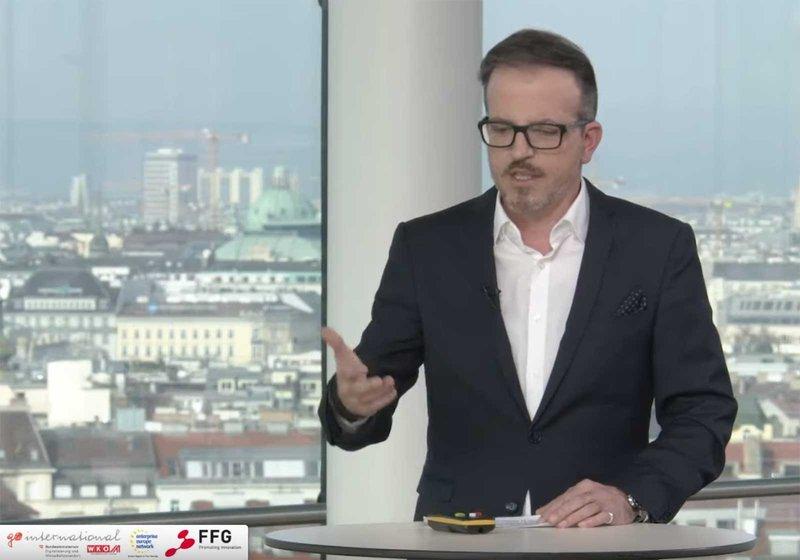 Michael Haugeneder, Managing Director ATP sustain Vienna, during his lecture. Screenshot: Außenwirtschaft Austria