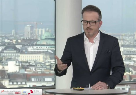 Michael Haugeneder, Managing Director ATP sustain Vienna, during his lecture. Screenshot: Außenwirtschaft Austria