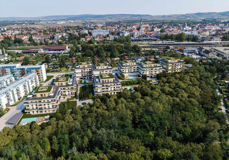 Integriran u zelenilo, a opet na samo 15 minuta vožnje automobilom od Beča. Vizualizacija: ©ZOOM VP.AT