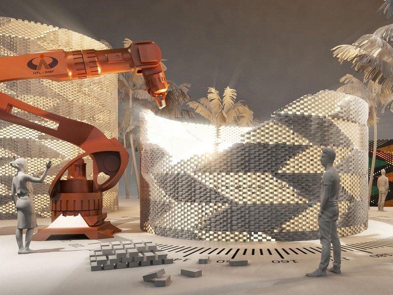Индустрия 4.0 – «Роб – строитель» кладет кирпичную стену. Визуализация: HTL-Imst