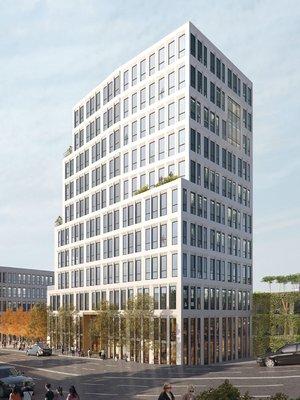 """Von Westen kommend markiert der 40 Meter hohe Büroturm die """"herausragende"""" Adresse. Visualisierung: ATP/Sontowski & Partner Group"""
