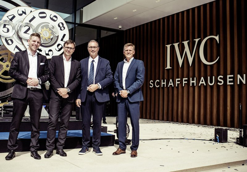 Integrated design by ATP Zurich. (from left) Christian Schwarz (ATP associate, site supervision), Jürgen Zipf (Lead Project Manager), Tiziano Dorigo (Project Manager IWC) and Matthias Wehrle (ATP Partner in Zurich). Photo: Adrian Bretscher/Getty Images f