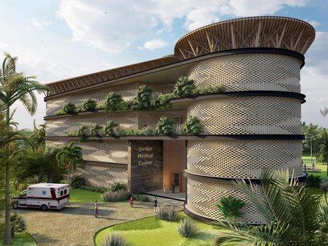 So sieht die Bettenstation des Jordan Medical Centers in Ghana aus. Visualisierung: HTL-Imst