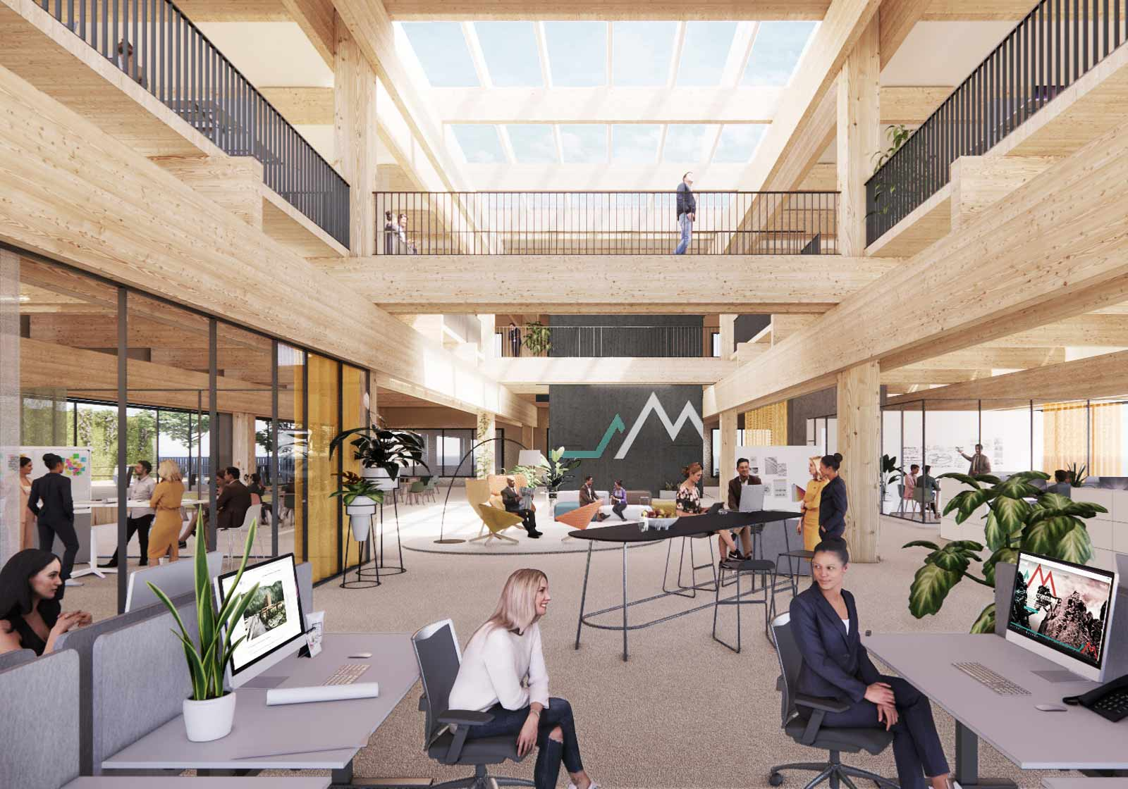 Lots of wood and natural materials in the office interiors. Visualization: ATP