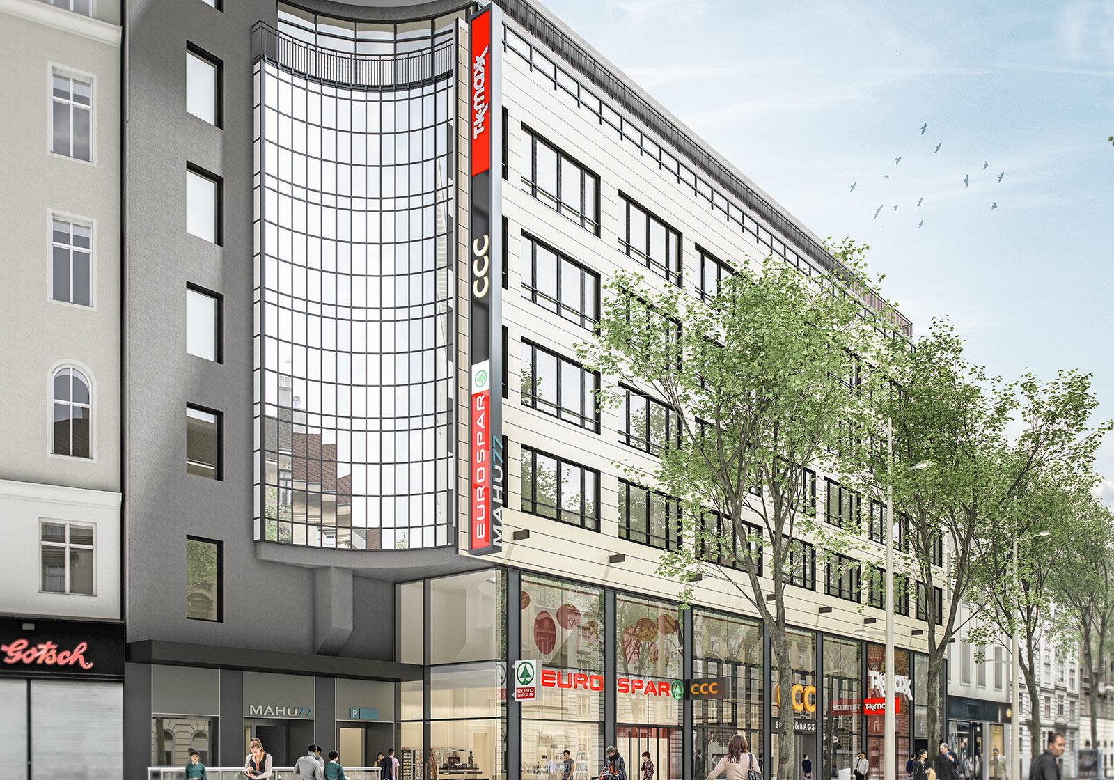 Das neue Einkaufszentrum mit zweigeschossiger Glasfassade. Visualisierung: zoomvpenter. Foto: Becker