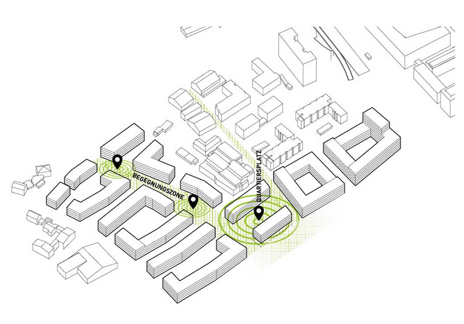 """The green space """"flows"""" at the heart of the development. Plan: ATP"""