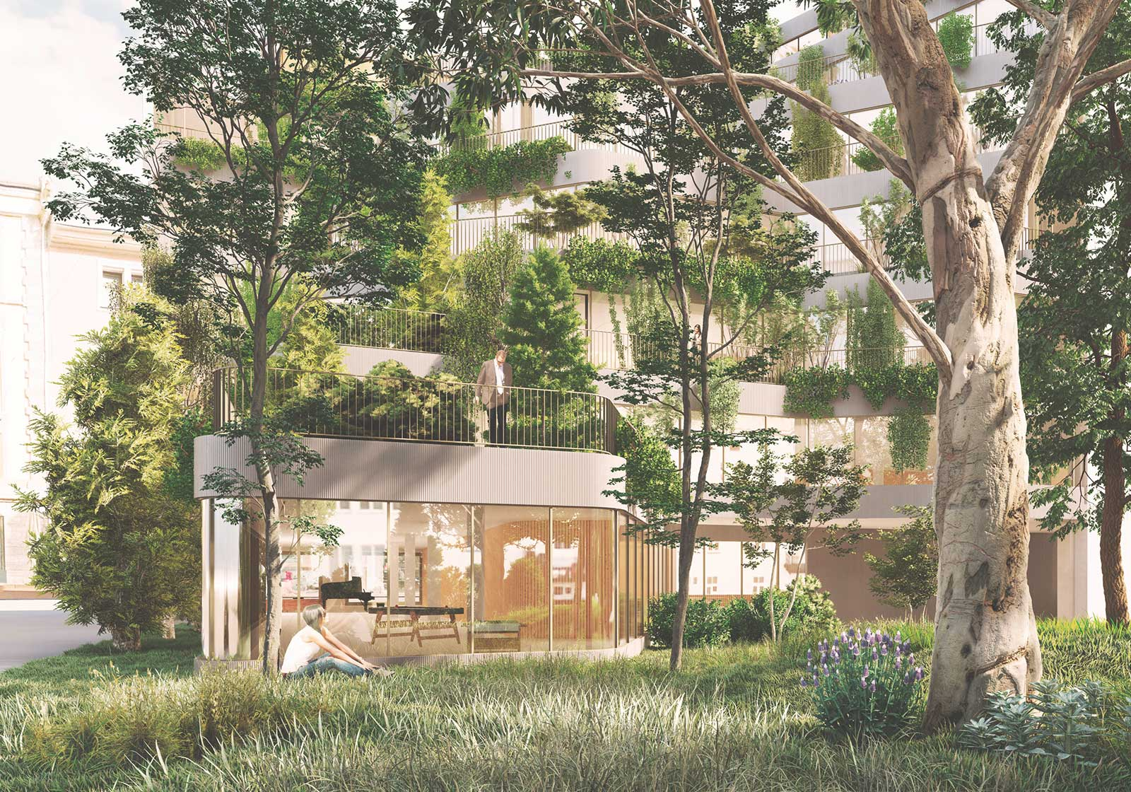 … and maximum greenery on the façade and the area facing the courtyard. Visualization: ATP