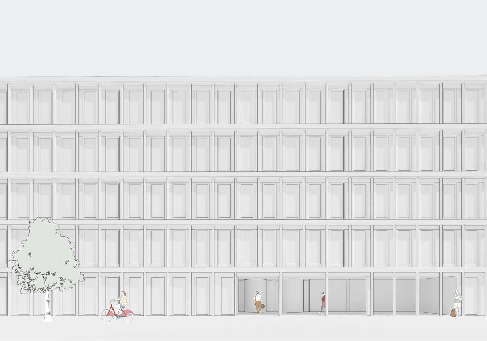 The regular, sculptural façade provides a calm appearance. Visualization: ATP