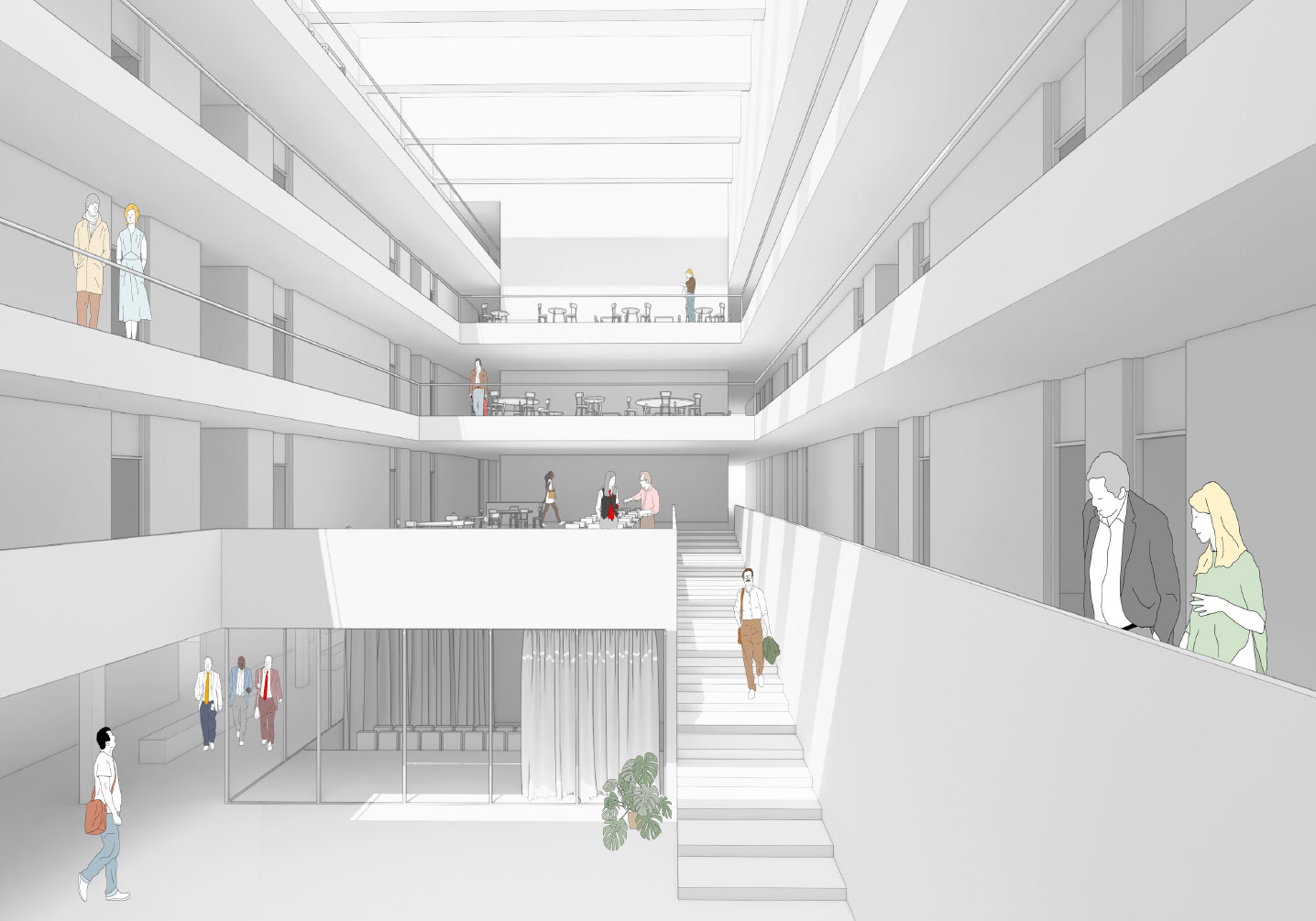 The light-filled foyer offers an excellent overview of the internal structure of the research center. Visualization: ATP
