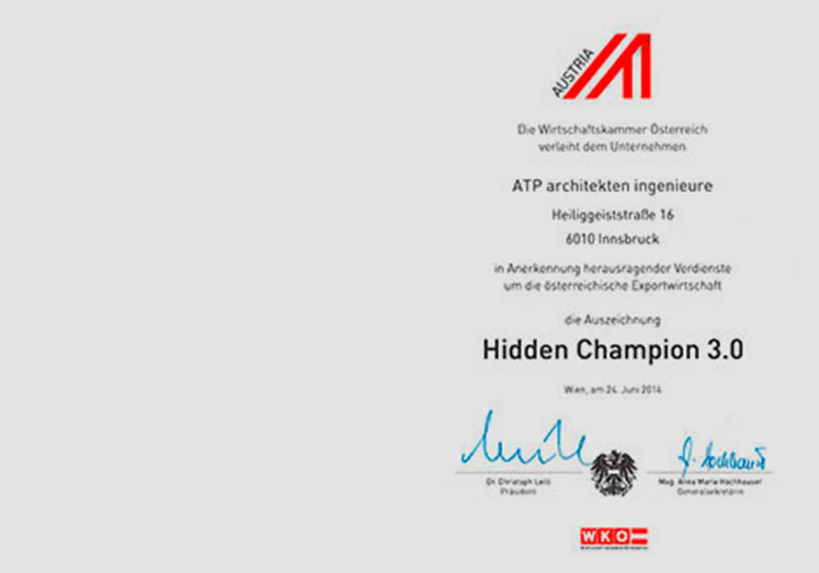 """Hidden Champions"" prize for ATP"