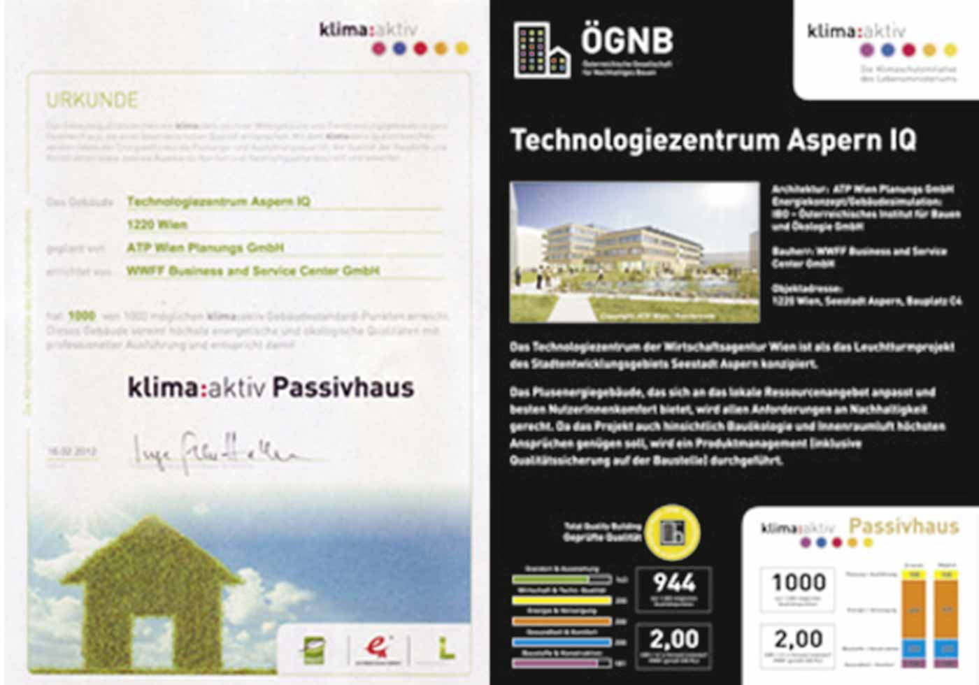 klima:aktiv and ÖGNB Building Quality Certificate for aspern IQ