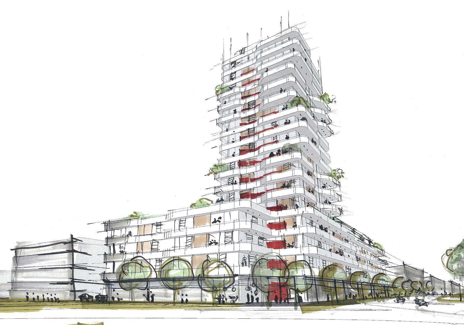 The IN-TOWER as an urban design link between the North Station and the Glacis. Image: ATP Munich