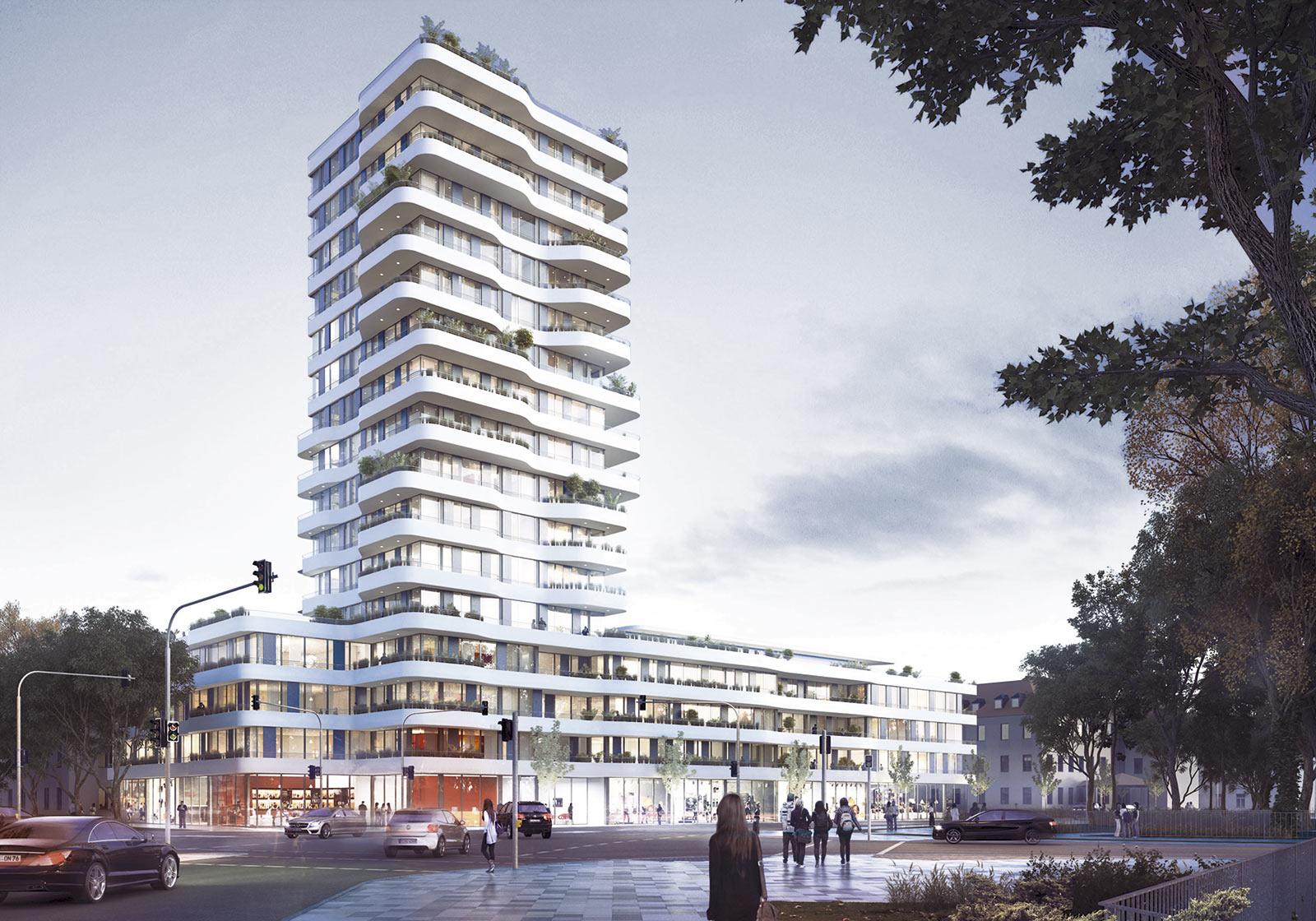 Ein neuer Landmark für Ingolstadt: der 50 Meter hohe IN-TOWER. Visualisierung: ATP München