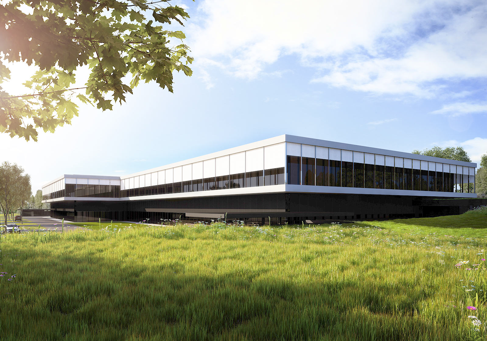 The two-story flat roofed building slips effortlessly into the surrounding topography. Visualization: ATP