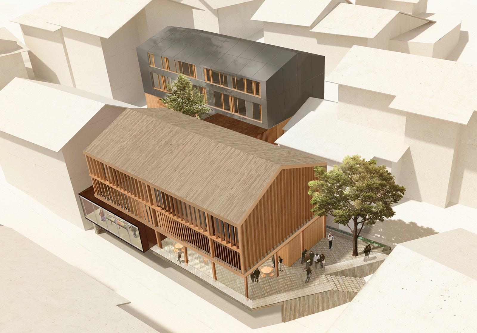 Der Entwurf schlägt zwei Baukörper mit einem Verbindungsbau auf Landesstraßenhöhe vor. Visualisierung: Rococoon