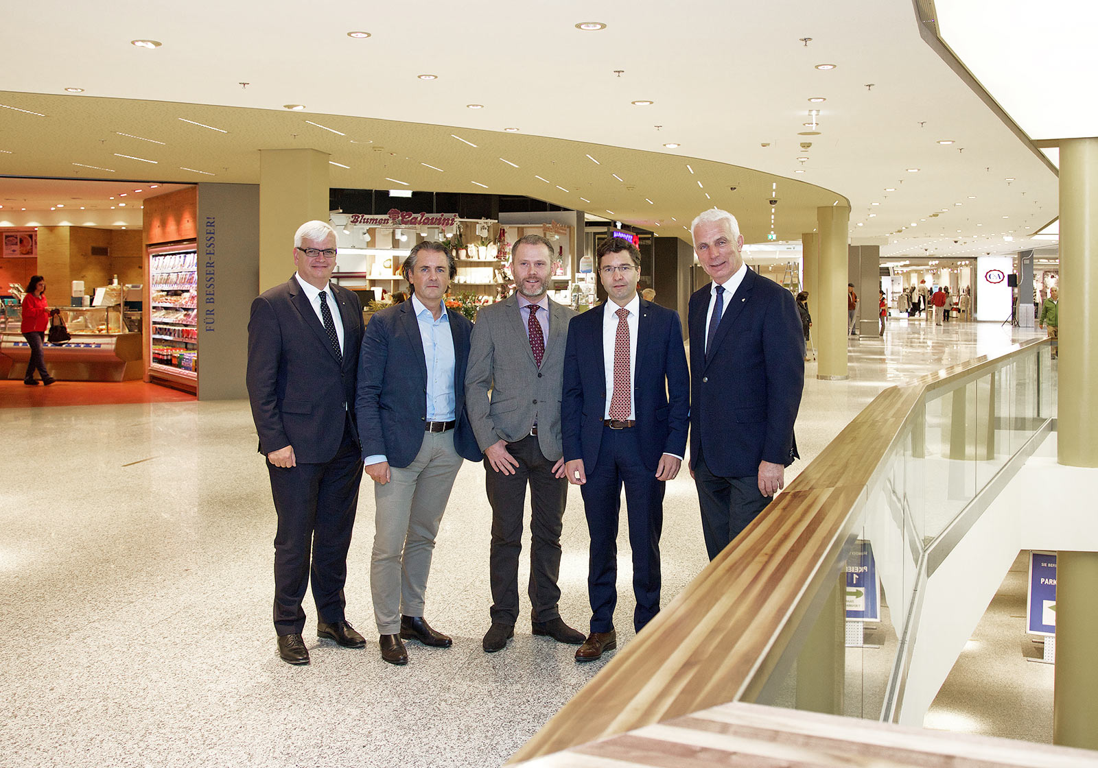 From left: Marcus Wild/CEO SES, Robert Kelca/ATP partner in Innsbruck, Linus Hiort/Dressmann – Varner Group, Markus Kaser/CEO Interspar, Helmut Hochfilzer/SILLPARK Center Manager. Photo: ATP