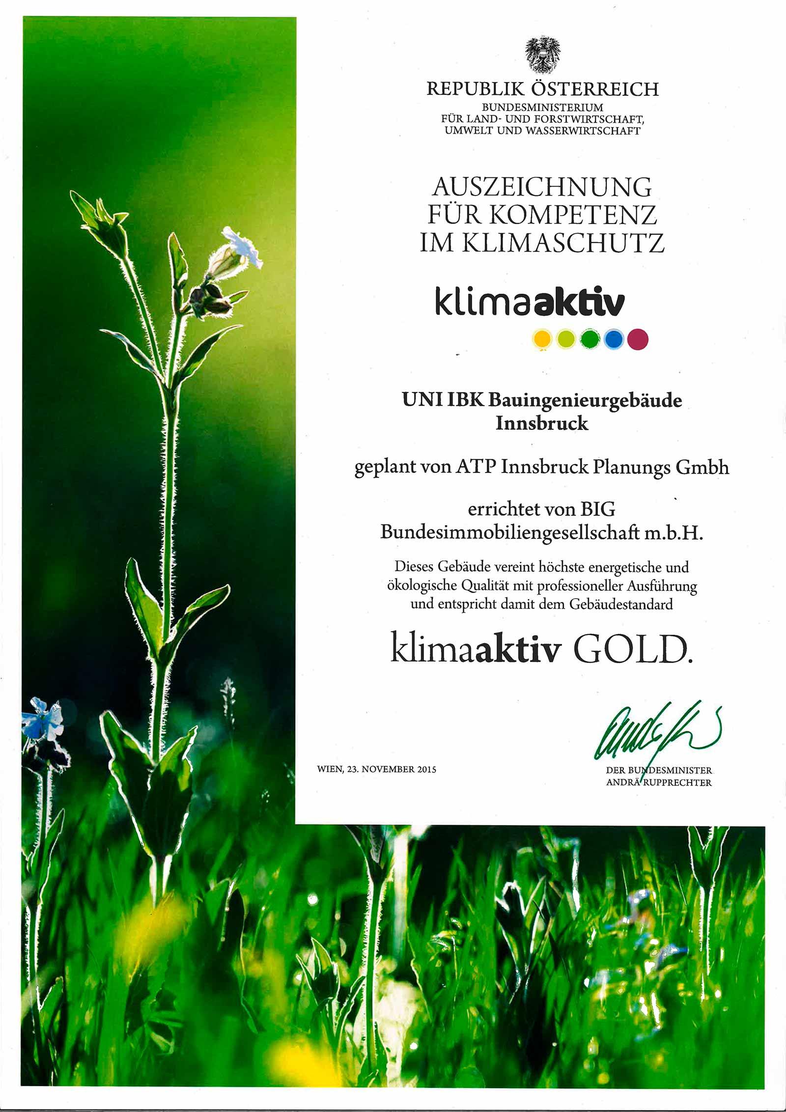 Urkunde zur Auszeichnung der Technischen Fakultät der Universität Innsbruck.