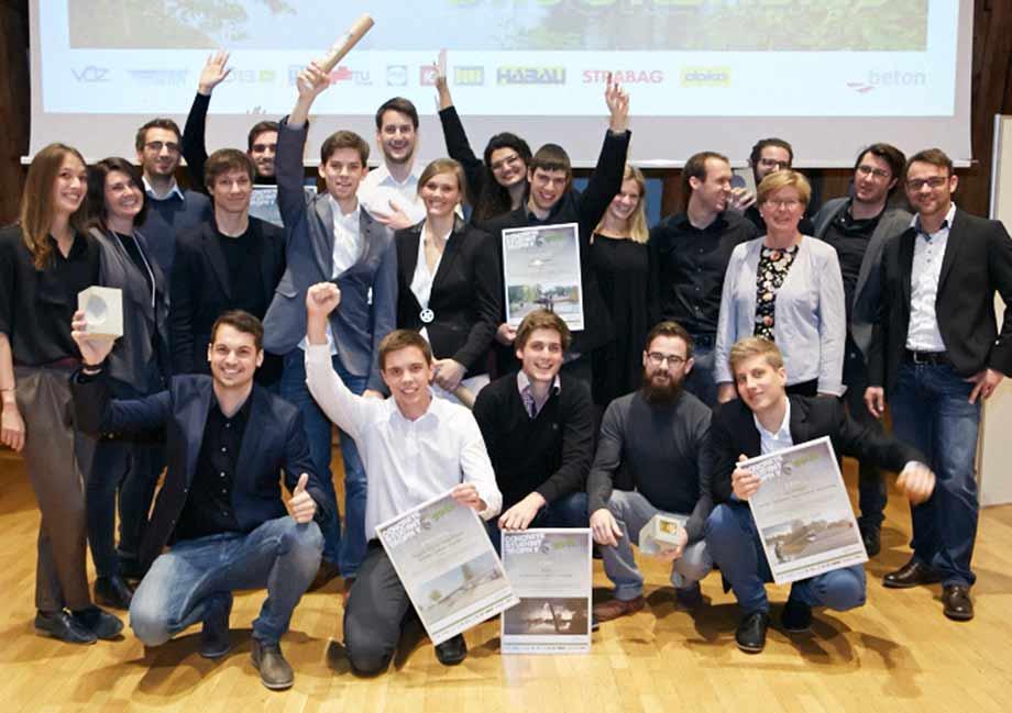 Interdisziplinäre Kompetenz: Die erfolgreichen Studenten wurden mit der Concrete Student Trophy 2015 ausgezeichnet. Foto: IG Lebenszyklus