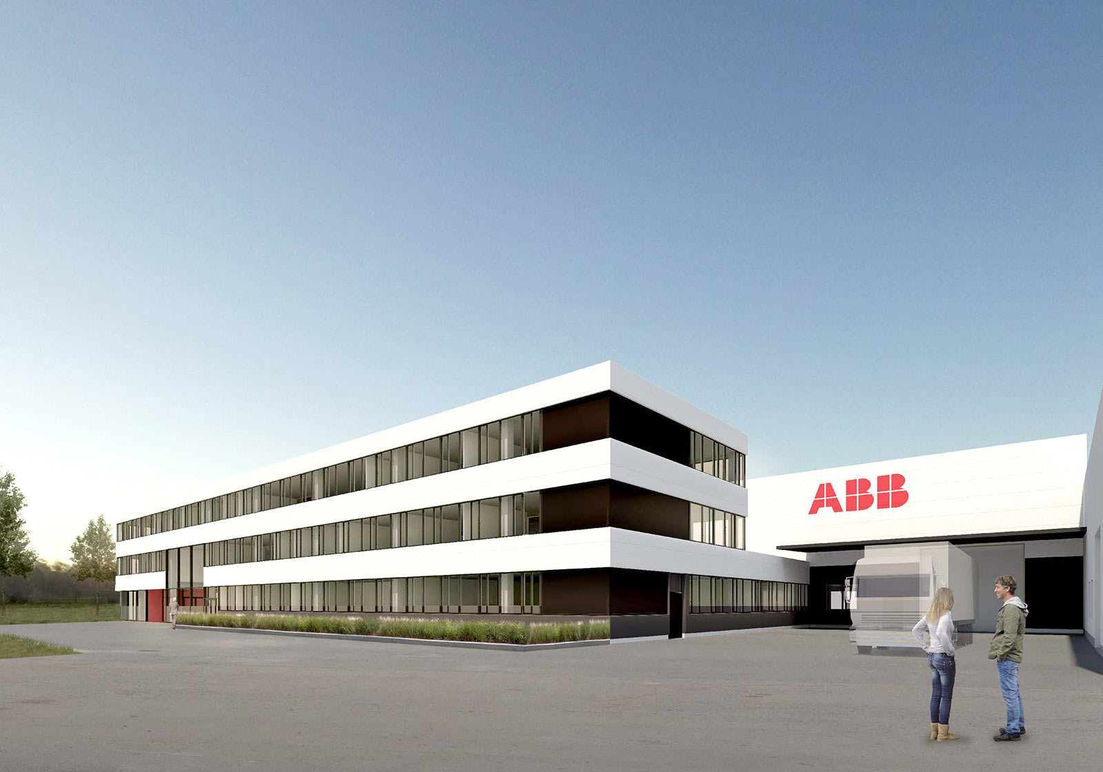 Вид нового ультрасовременного завода по сборке робототехники ABB. Визуализация: ATP Vienna