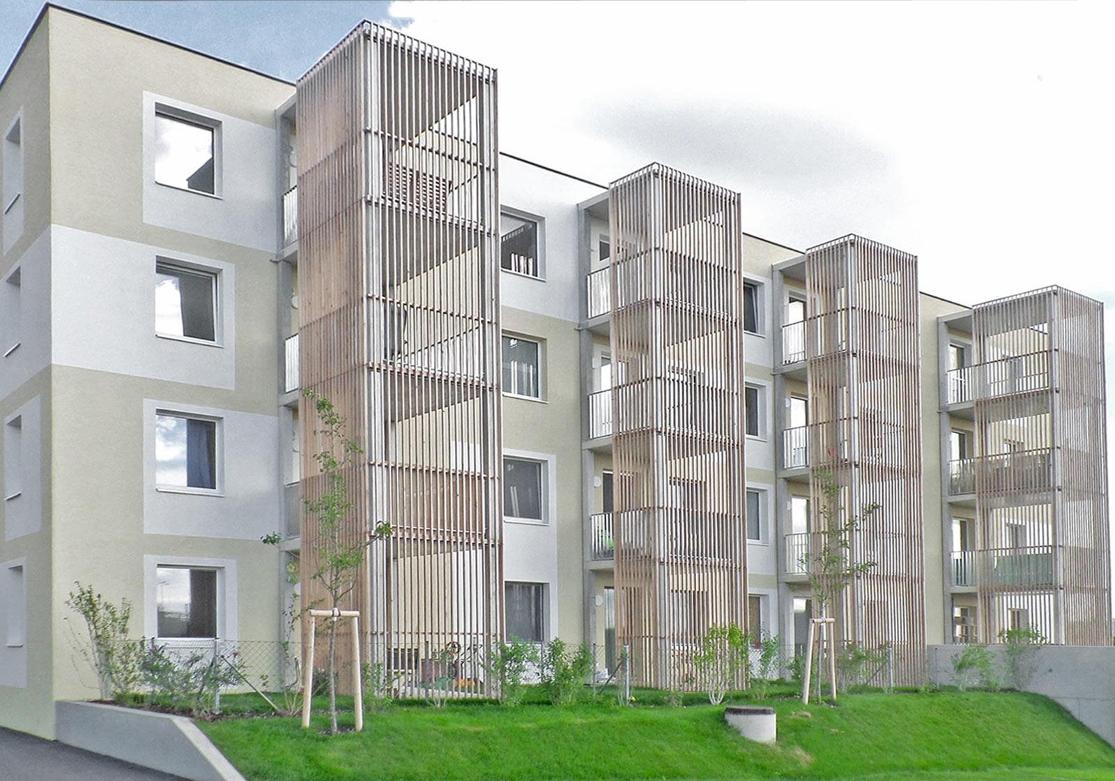 """Die Wohnhausanlage ARWAG/MIGRA D16/D17 wurde mit """"ÖGNB GOLD"""" ausgezeichnet. Foto: Herbert Jezek, ARWAG Bauträger GmbH"""