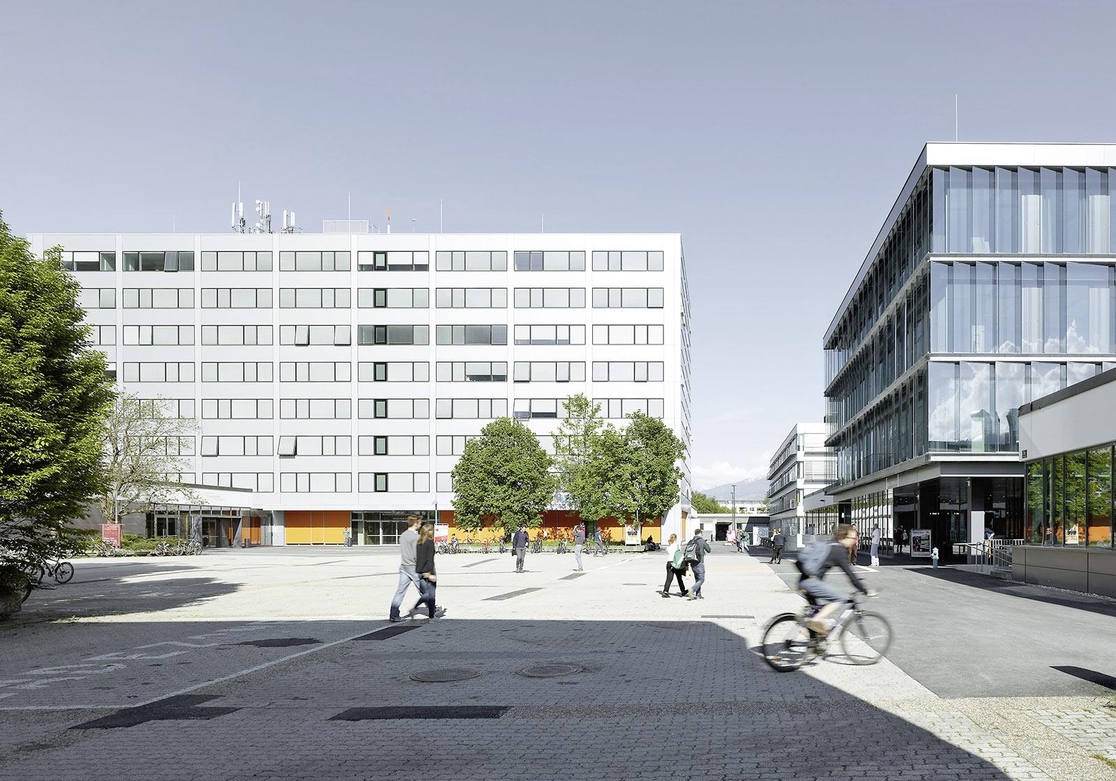 Здания факультетов архитектуры и технических наук Университета Инсбрука. Фото: ATP/Jantscher