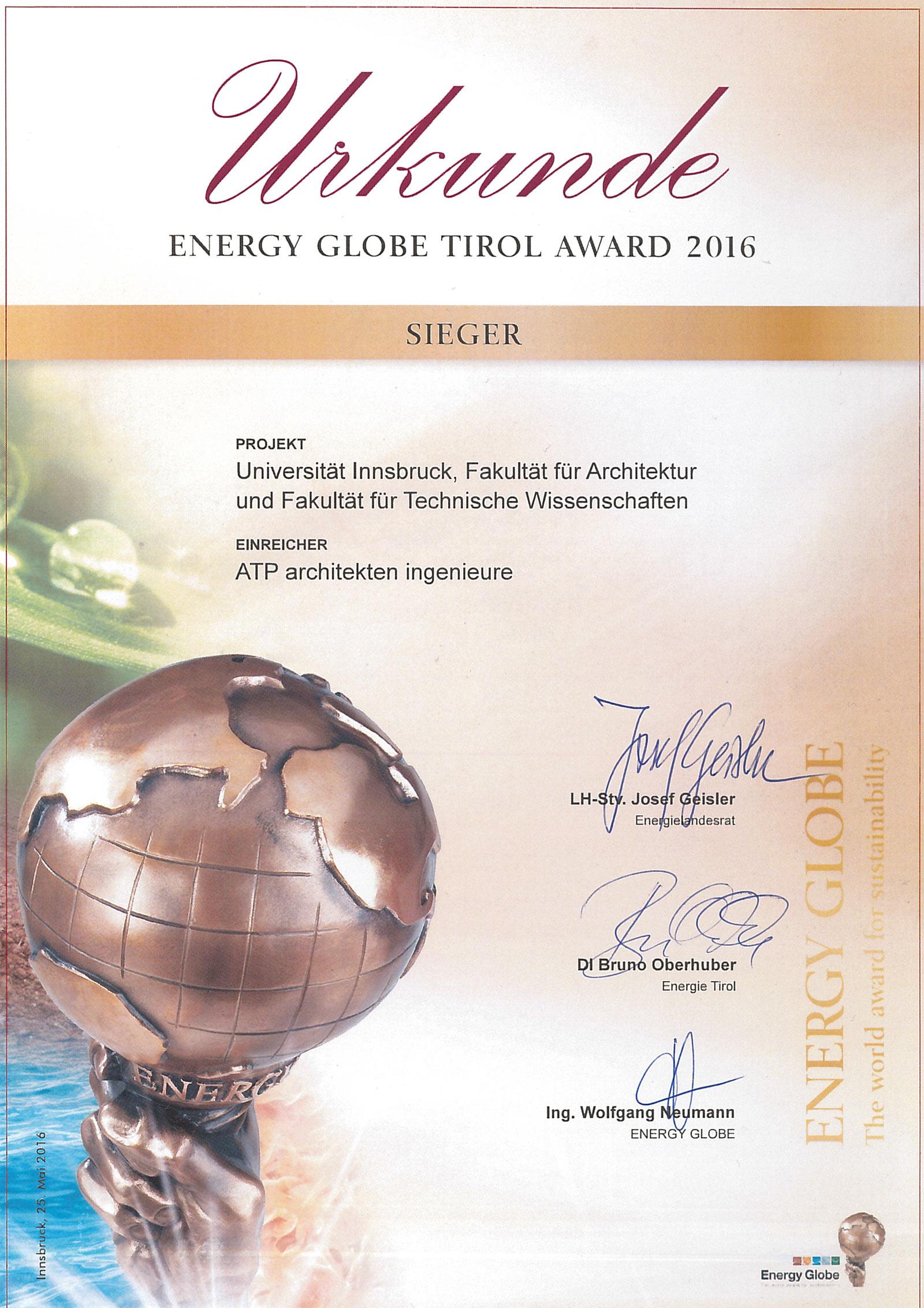 Energy Globe Award Tirol.