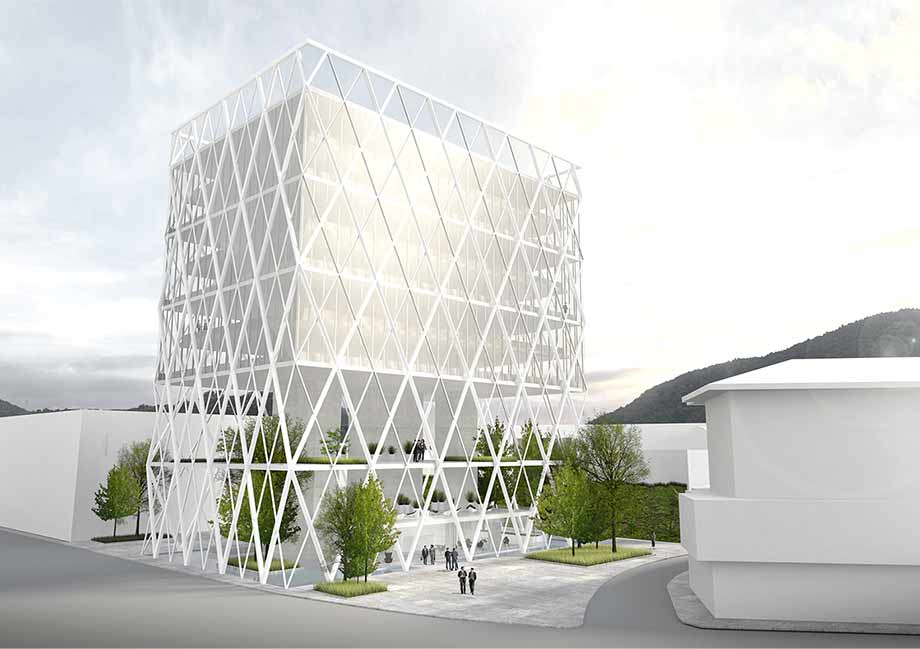 The column-free office building remains flexible for later densification. Visualization: ATP