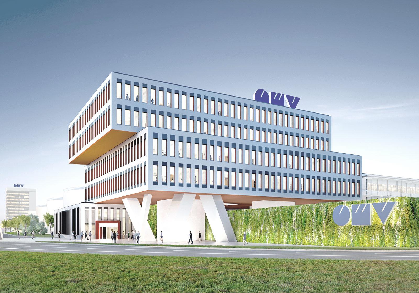 Entwurf für das OMV Hauptgebäude am Eingang zum Raffineriegelände. Visualisierung: Telegram 71, Giacomo Dodich
