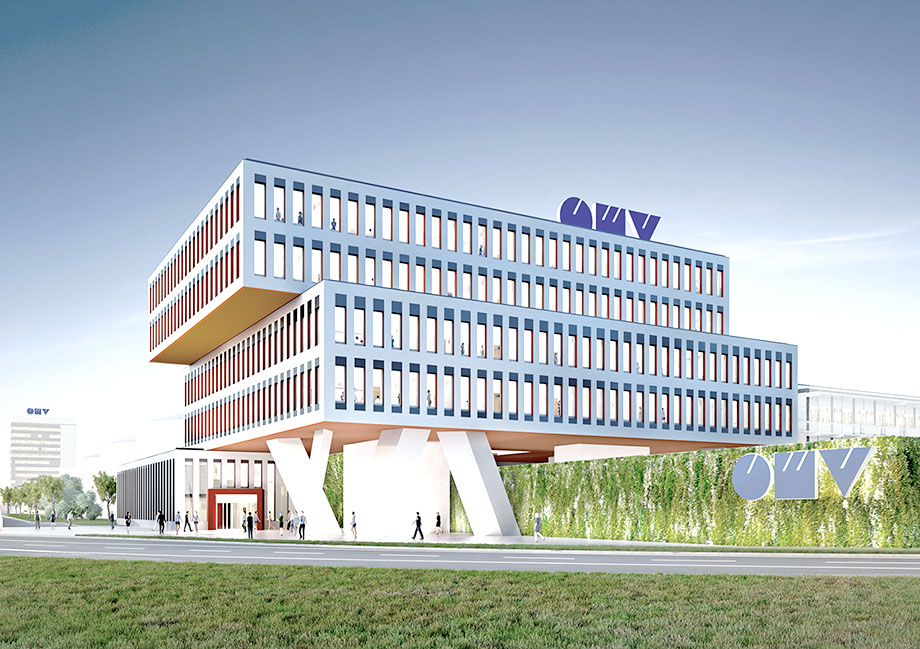 Design for OMV's main building at the entrance to the refinery complex. Visualization: Telegram 71, Giacomo Dodich