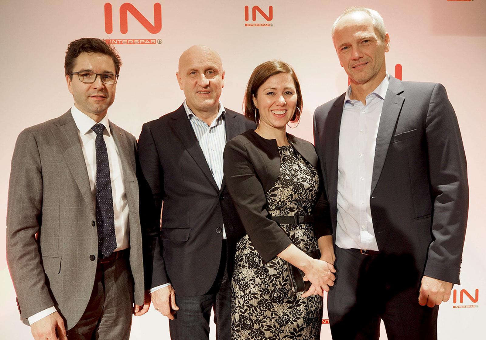 f. l.: Markus Kaser, Managing Director INTERSPAR, Horst Reiner, Managing Director ATP Wien, Nina Pototschnig, Project Management SES, Andreas Schaller, Lead Project ManagerATP Wien. Photo: ATP