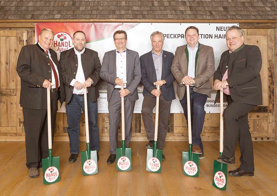 From left.: Karl Handl, Thomas Walde, Group Leader ATP Innsbruck, Gerald Hulka, CEO ATP Innsbruck, Josef Ascher, authorized signatory Fröschl, Christian Handl and Mayor Josef Leitner