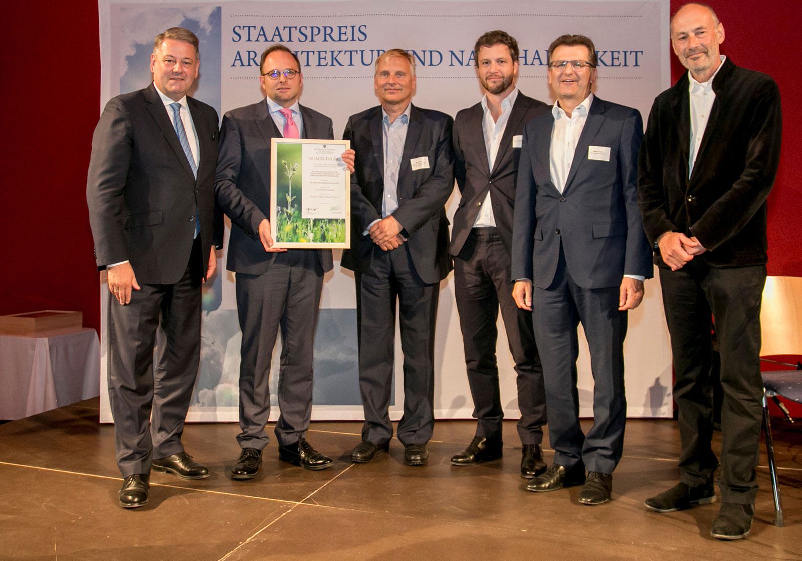 from left.: Minister Andrä Rupprechter, Maximilian Pammer and Dirk Jäger (BIG), Paul Ohnmacht and Gerald Hulka (ATP Innsbruck), Professor Roland Gnaiger. Photo: Jan Hetfleisch