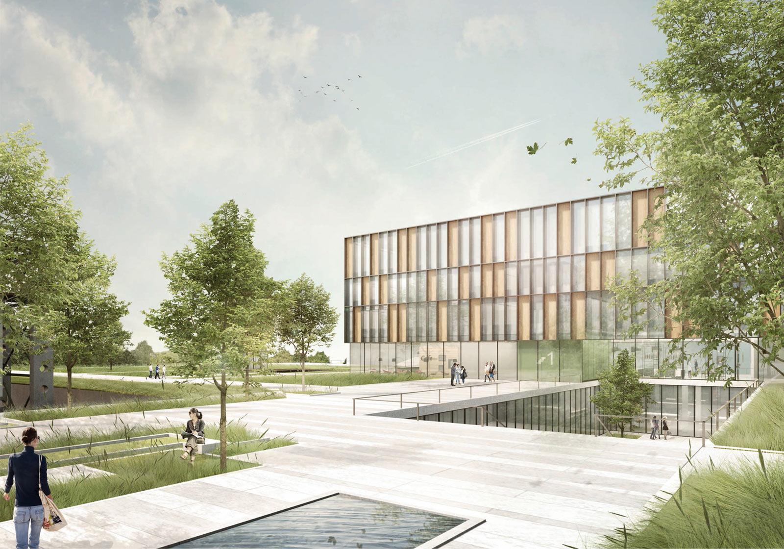 Blick über den gestalteten Grünraum, welcher den Neubau an das bestehende WKO-Gebäude anbindet. Rendering: ATP