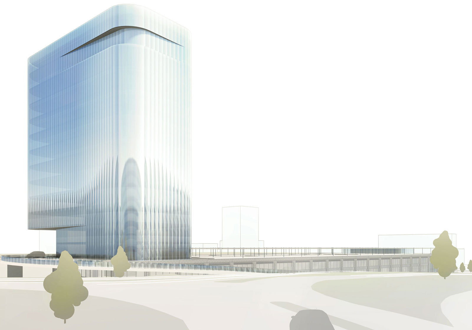 Ein moderner Büroturm und die Remise mit industriellem Flair zeichnen das Business Center Salzburg Mitte aus. Visualisierung: ATP Innsbruck