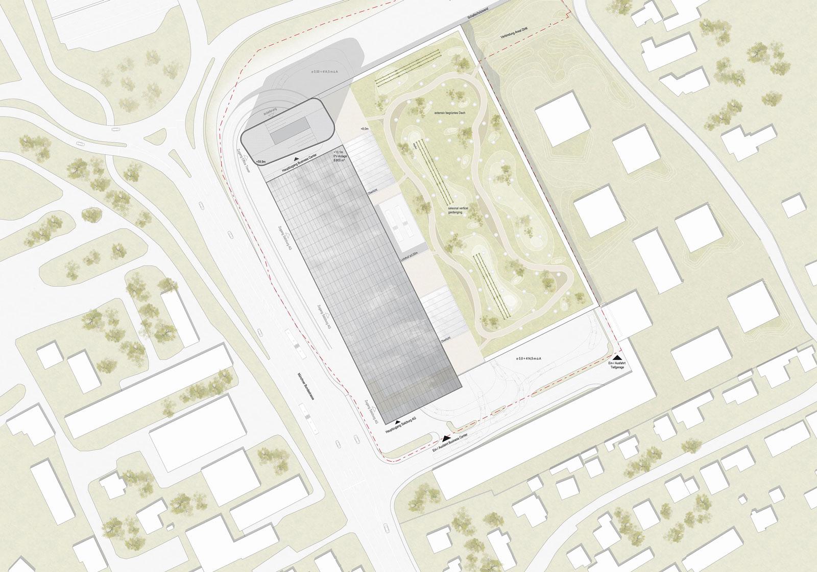Städtebaulich fügt sich das Business Center Salzburg Mitte ideal in die angrenzende Wohnsiedlung ein. Visualisierung: ATP Innsbruck