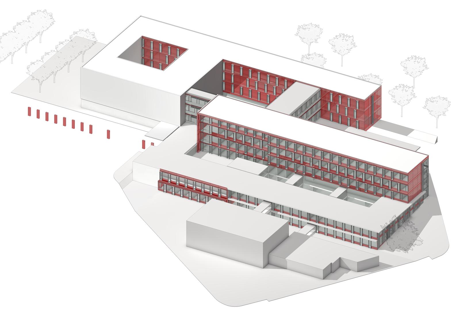 Der dreigeschossige Neubau wurde an der Rückseite des Krankenhauses in kompakter Bauweise realisiert. Visualisierung: ATP