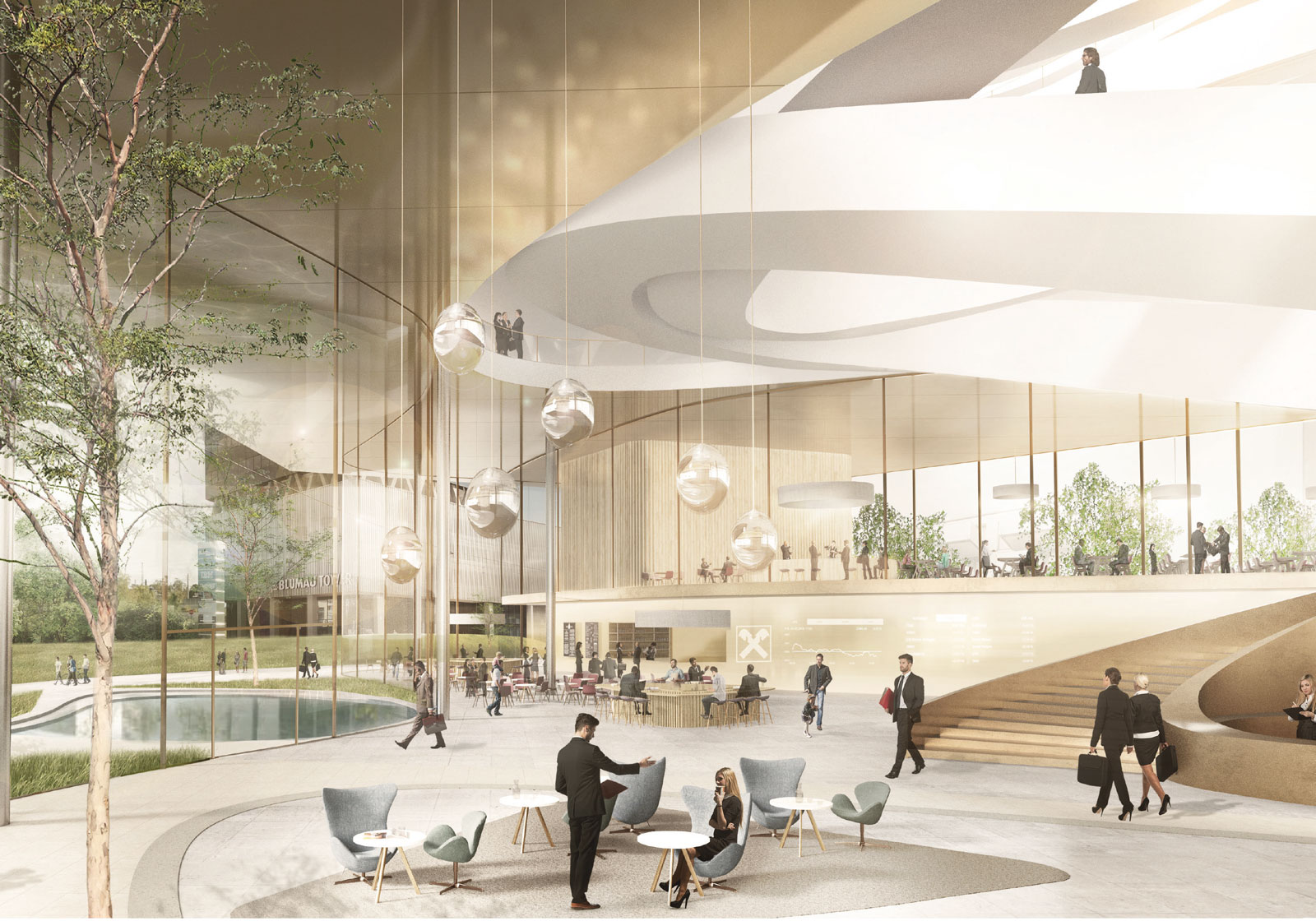 The high glass façade enables interior and exterior to merge. Visualization: ATP