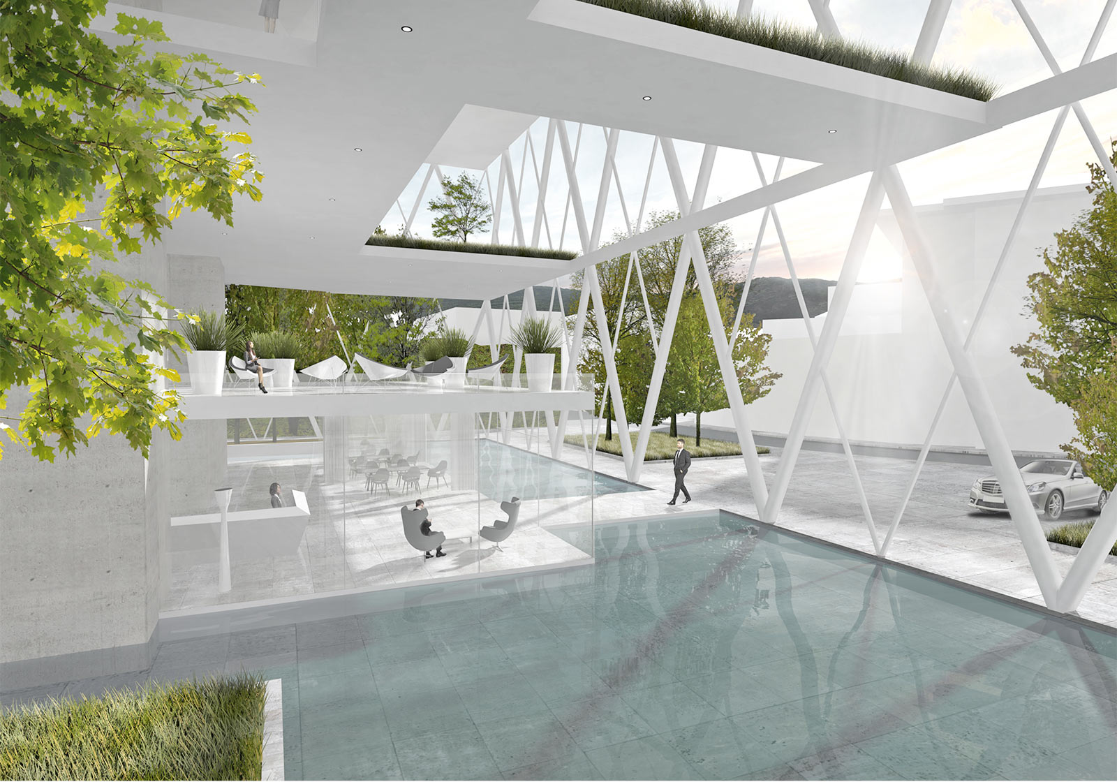 The open area and areas of greenery create a place for relaxation and give employees the opportunity to work in a green space: Visualization ATP