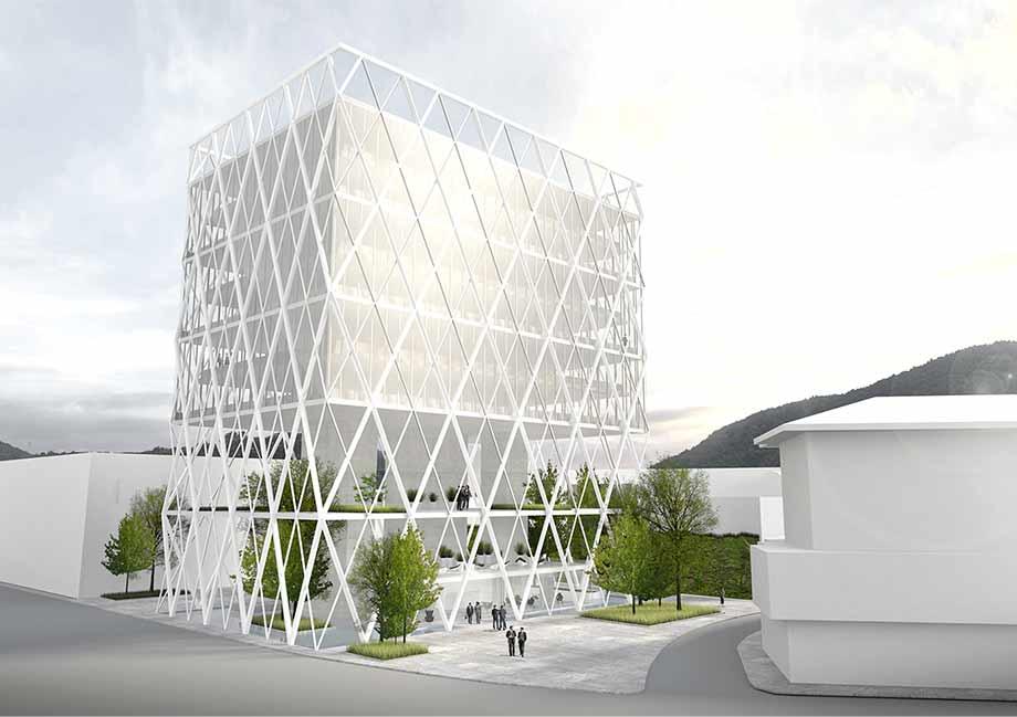 Das Bürogebäude ist flexibel und stützenfrei konzipiert. Visualisierung: ATP