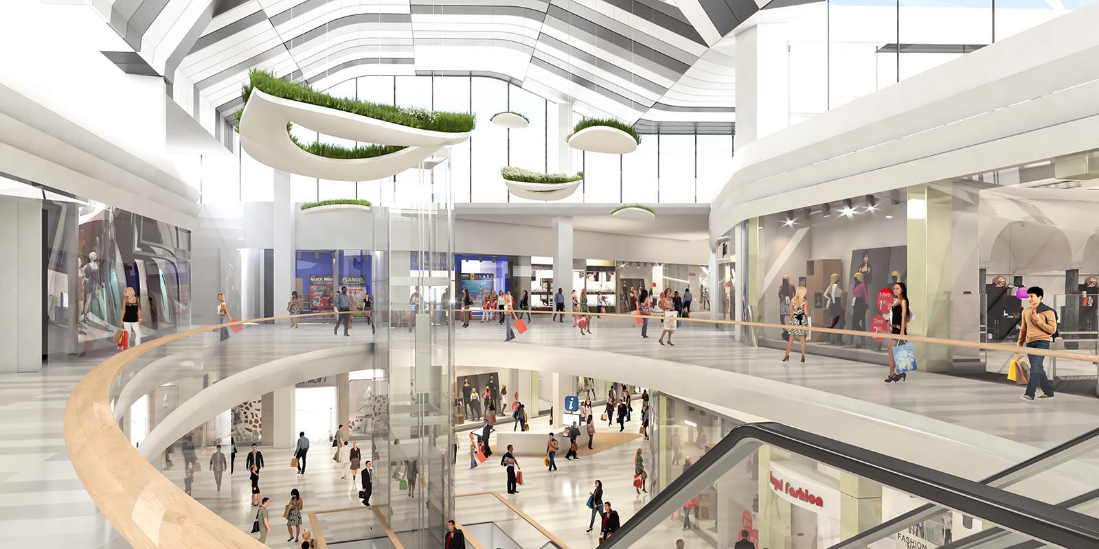 Durch großflächige Umbauten und Erweiterungen wird das Shopping Center neu positioniert. Visualisierung: ATP architekten ingenieure