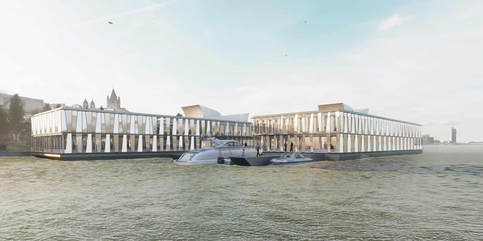 Die Außenfassade des Büroschiffs tritt in einen spannenden Dialog mit den Spiegelungen im Wasser. Visualisierung: ATP