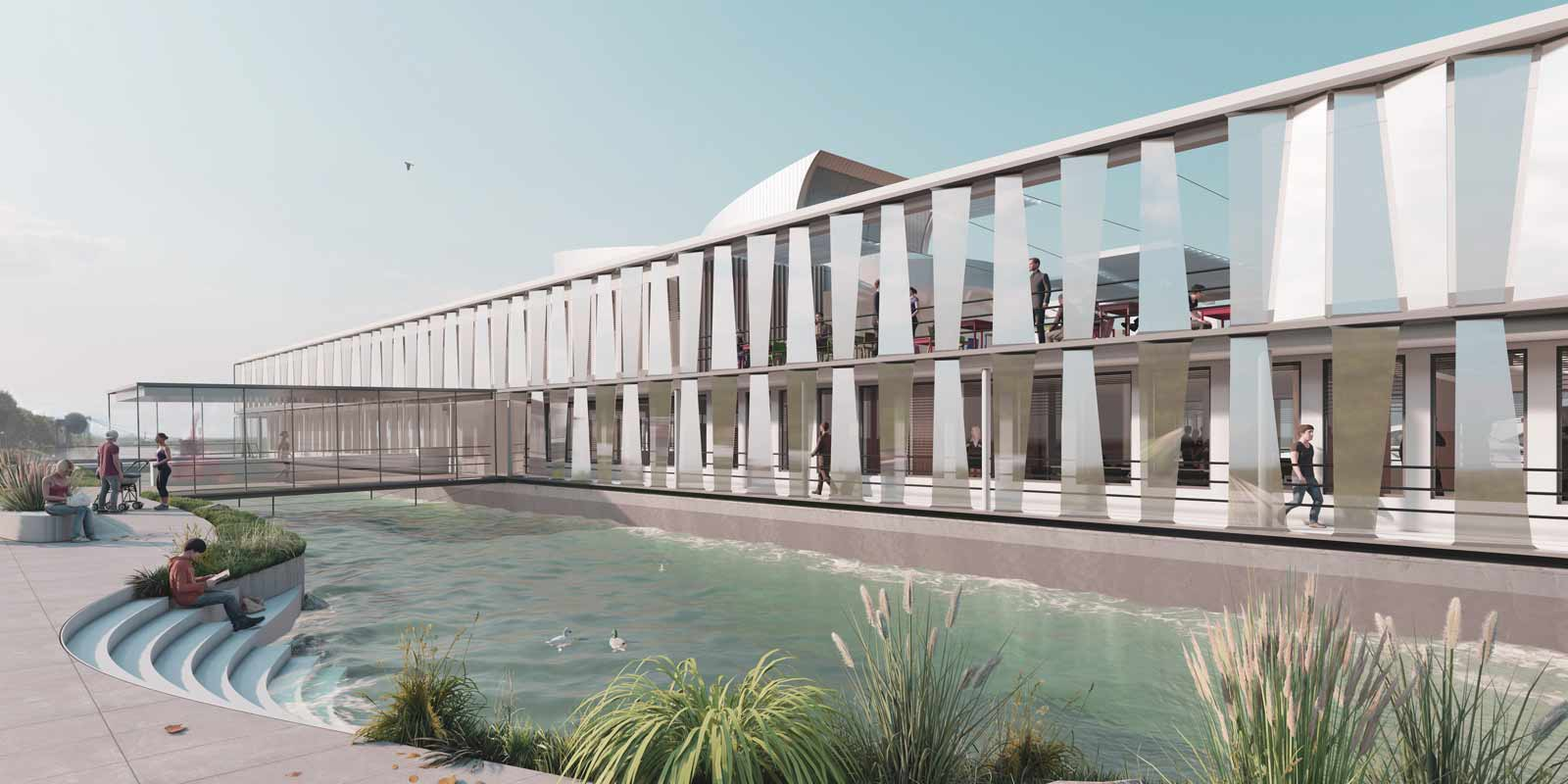 """Der Hauptsteg verbindet das Ufer mit dem großzügigen Foyer mit """"Flair eines Kreuzfahrtschiffes"""". Visualisierung: ATP"""