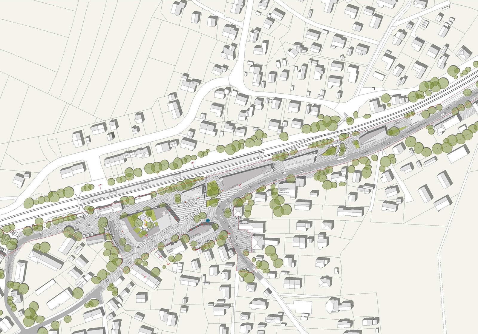 Lageplan Bahnhofsareal. Visualisierung: ATP/ Logo verde