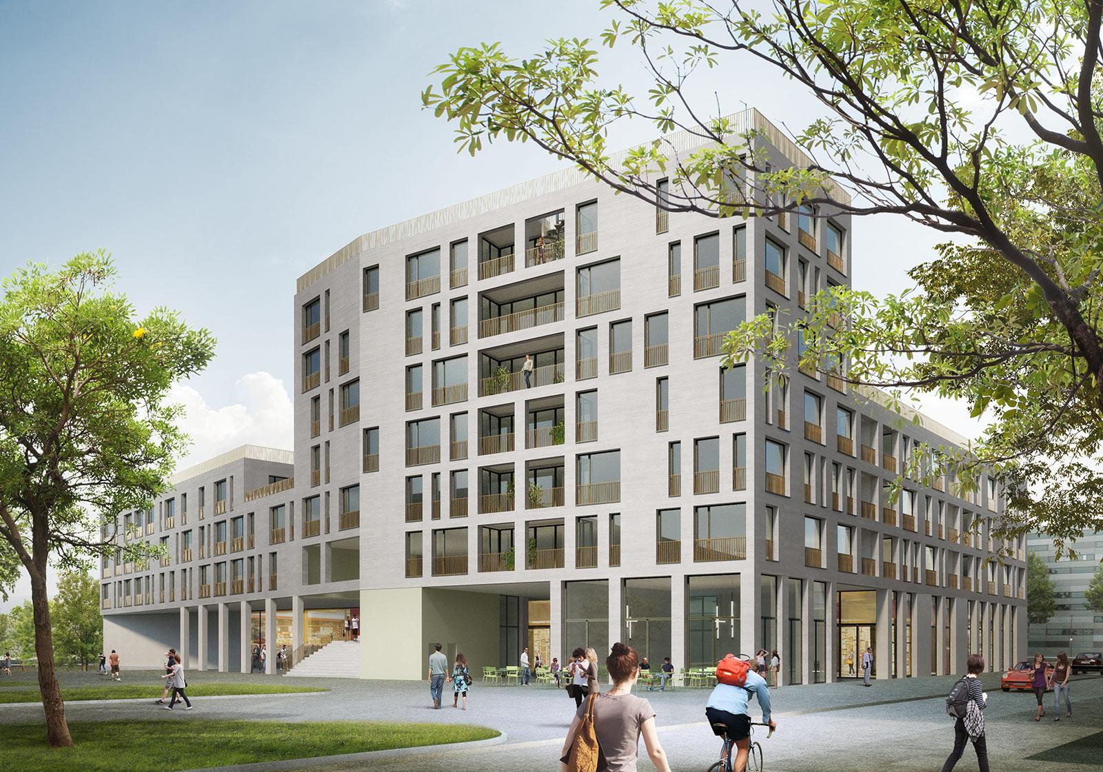 Ein mehrgeschossiger urbaner Wohnblock mit Handelsflächen im EG als anspruchsvoller Auftakt zum Messequartier. Visualisierung: nightnurse images gmbh